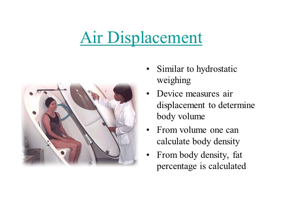 Air Displacement Similar to hydrostatic weighing