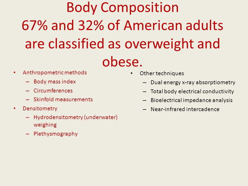 Body Composition 67% and 32% of American adults are classified as overweight and obese.