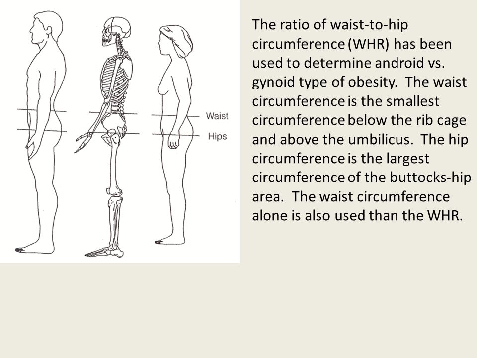 The ratio of waist-to-hip circumference (WHR) has been used to determine android vs.