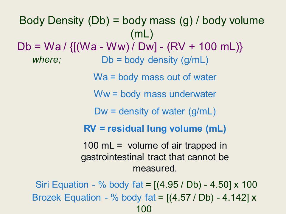 RV = residual lung volume (mL)