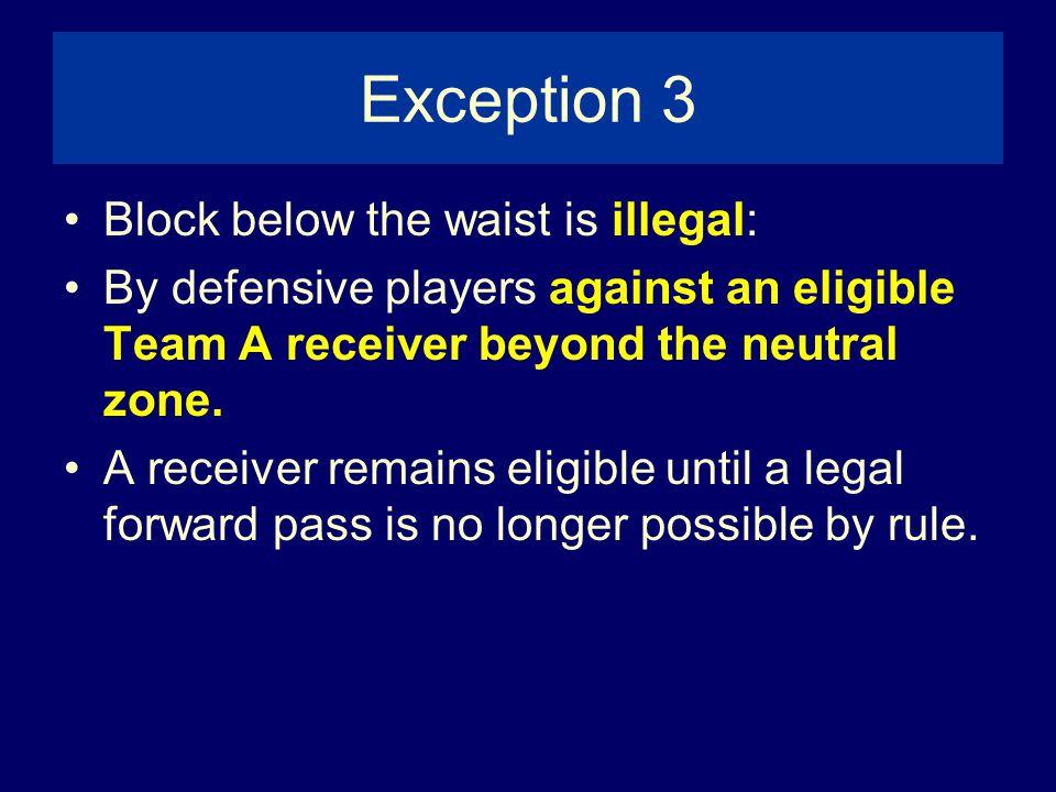 Exception 3 Block below the waist is illegal: