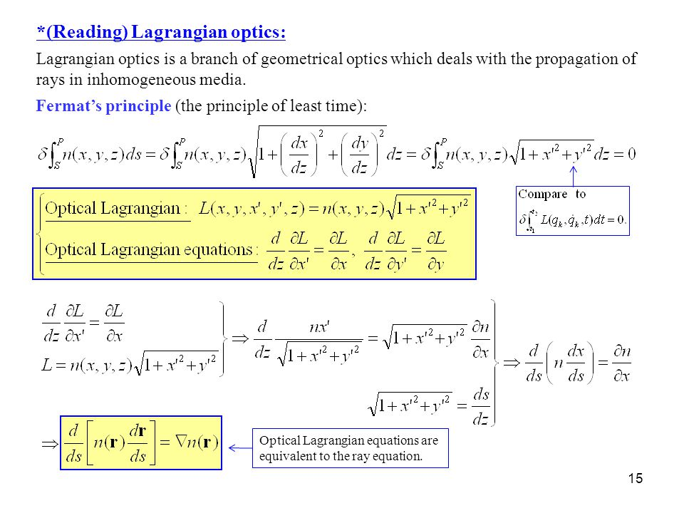 *(Reading) Lagrangian optics: