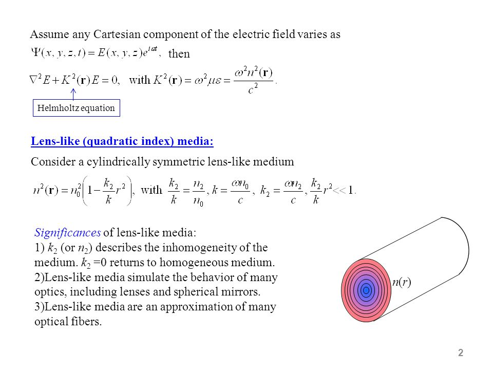 Assume any Cartesian component of the electric field varies as then