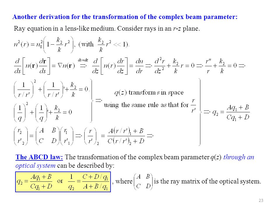 Another derivation for the transformation of the complex beam parameter: