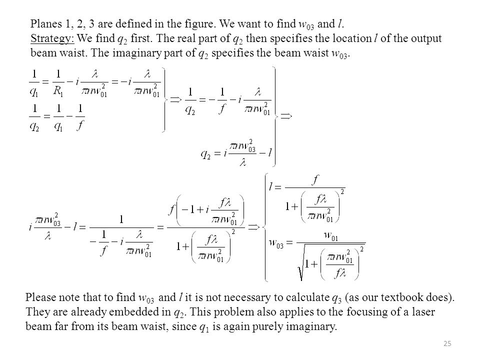 Planes 1, 2, 3 are defined in the figure. We want to find w03 and l.