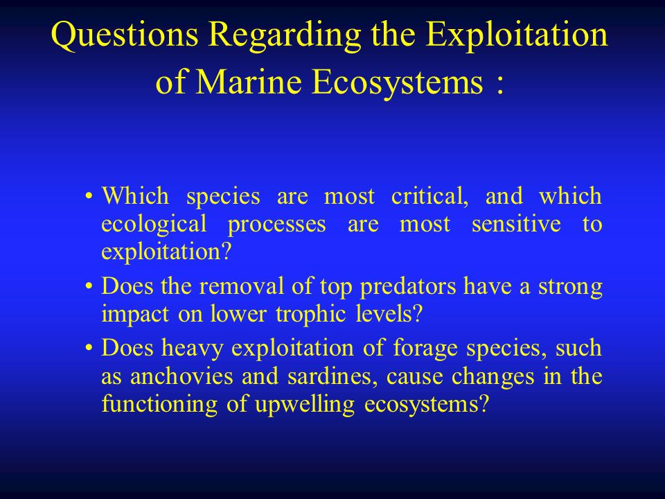 Questions Regarding the Exploitation of Marine Ecosystems :