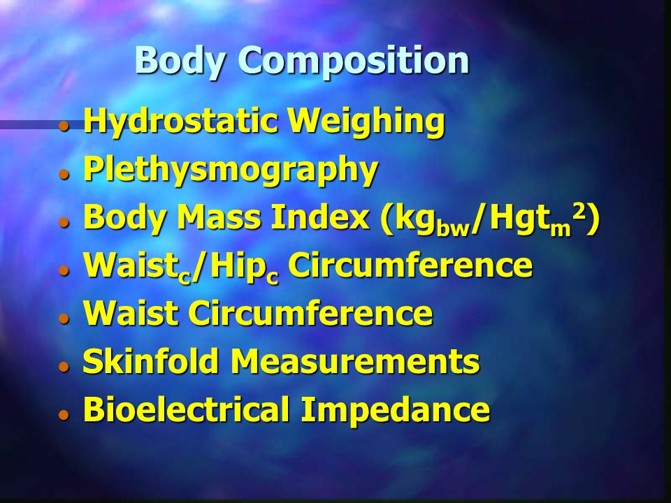 Body Composition Hydrostatic Weighing Plethysmography