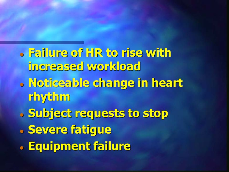 Failure of HR to rise with increased workload