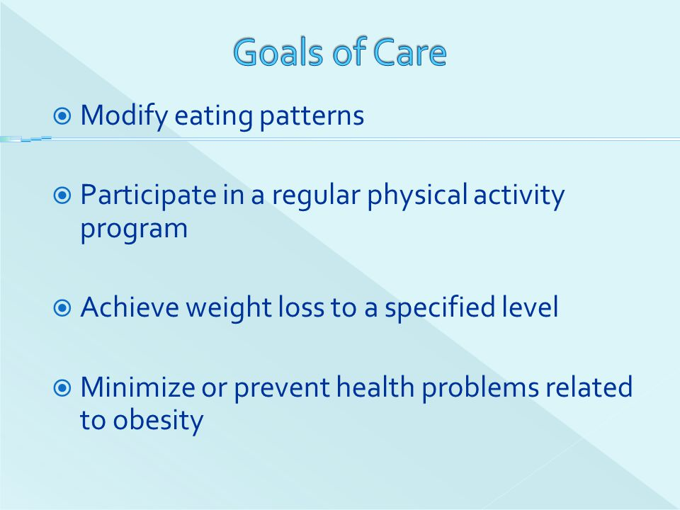 Goals of Care Modify eating patterns