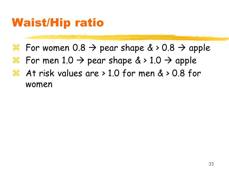 Waist/Hip ratio For women 0.8  pear shape & > 0.8  apple