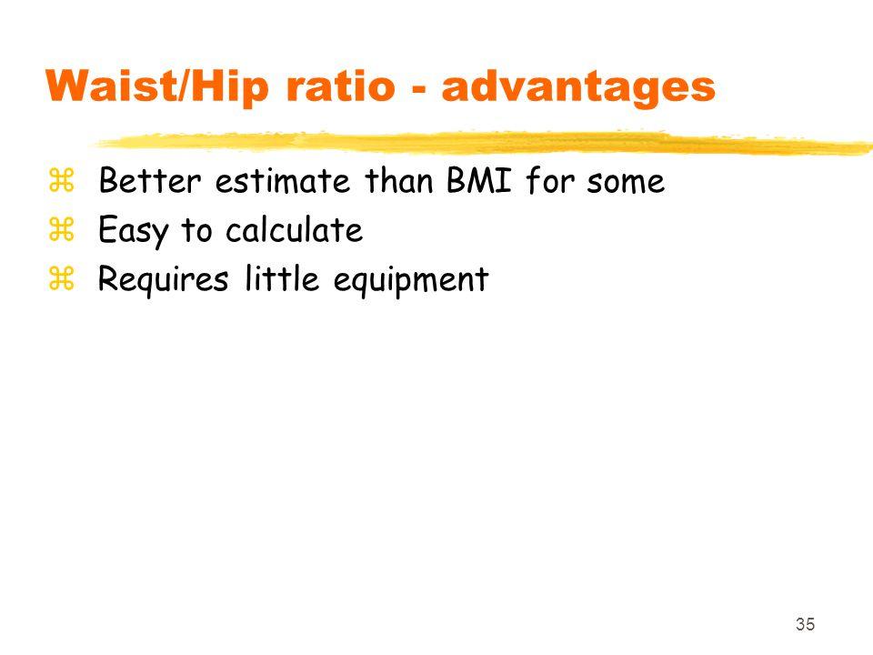 Waist/Hip ratio - advantages