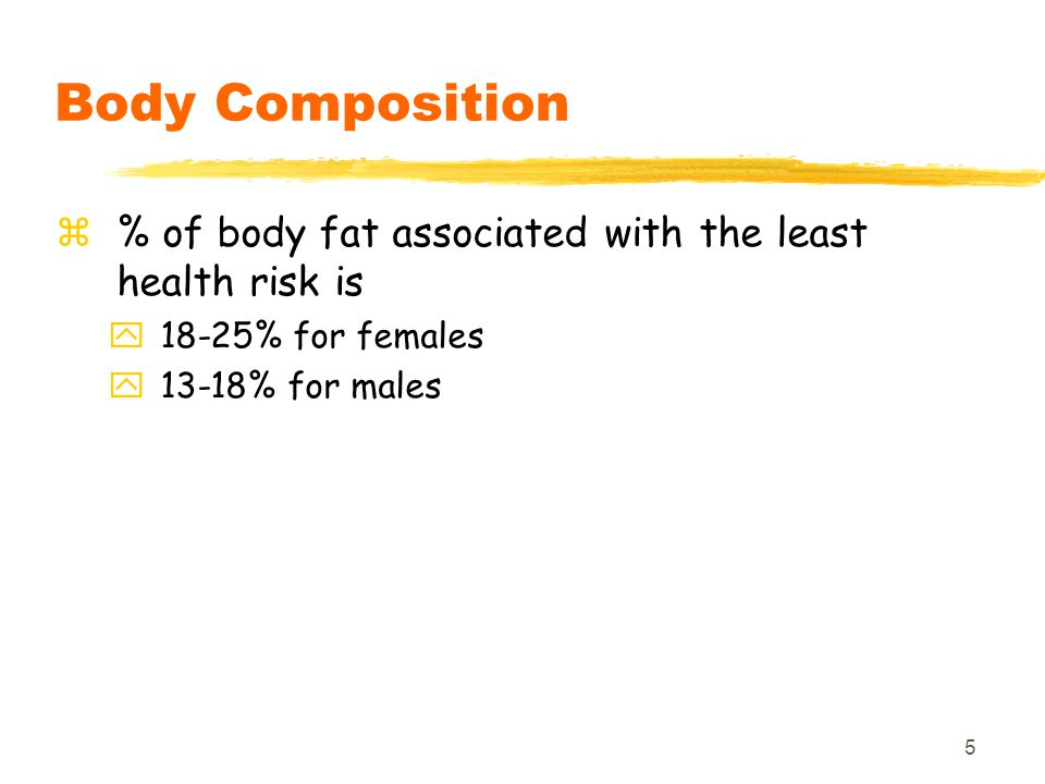 Body Composition % of body fat associated with the least health risk is.