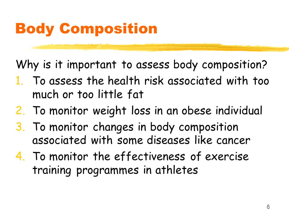 Body Composition Why is it important to assess body composition