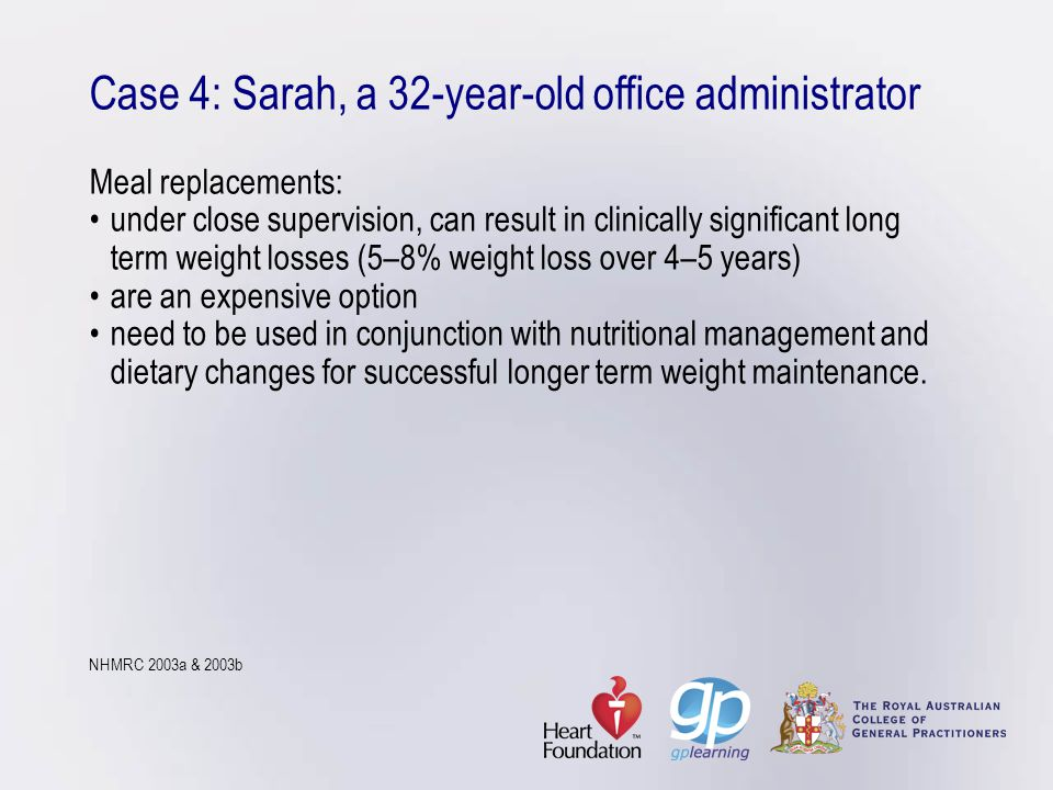 Case 4: Sarah, a 32-year-old office administrator Meal replacements: •