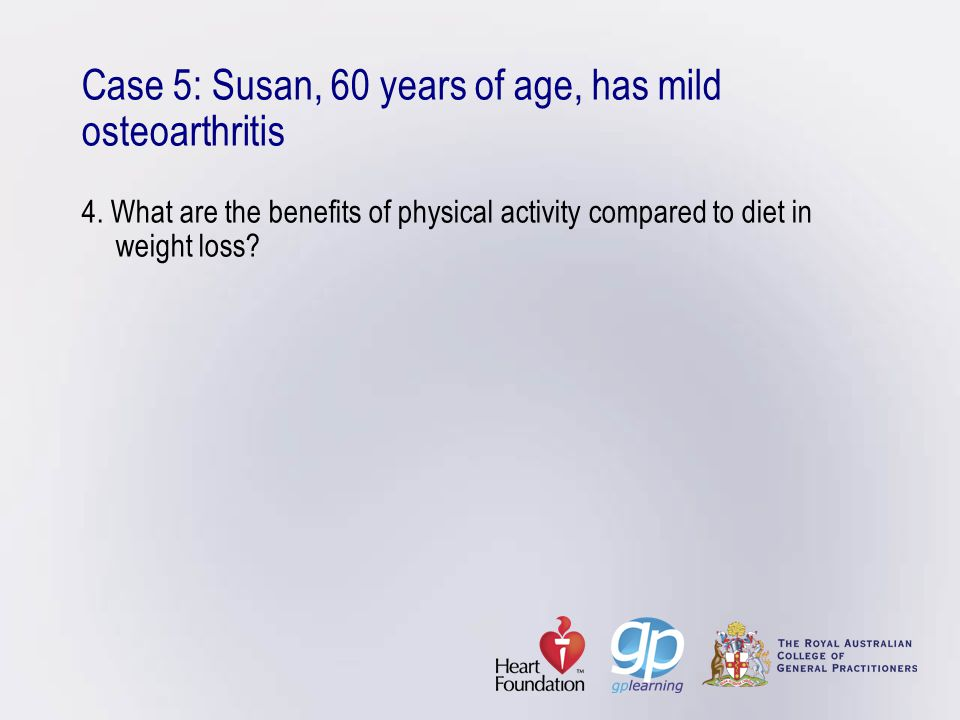 Case 5: Susan, 60 years of age, has mild osteoarthritis 4