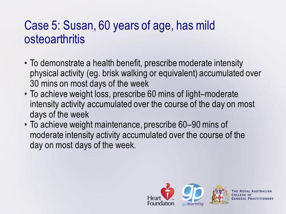 Case 5: Susan, 60 years of age, has mild osteoarthritis •