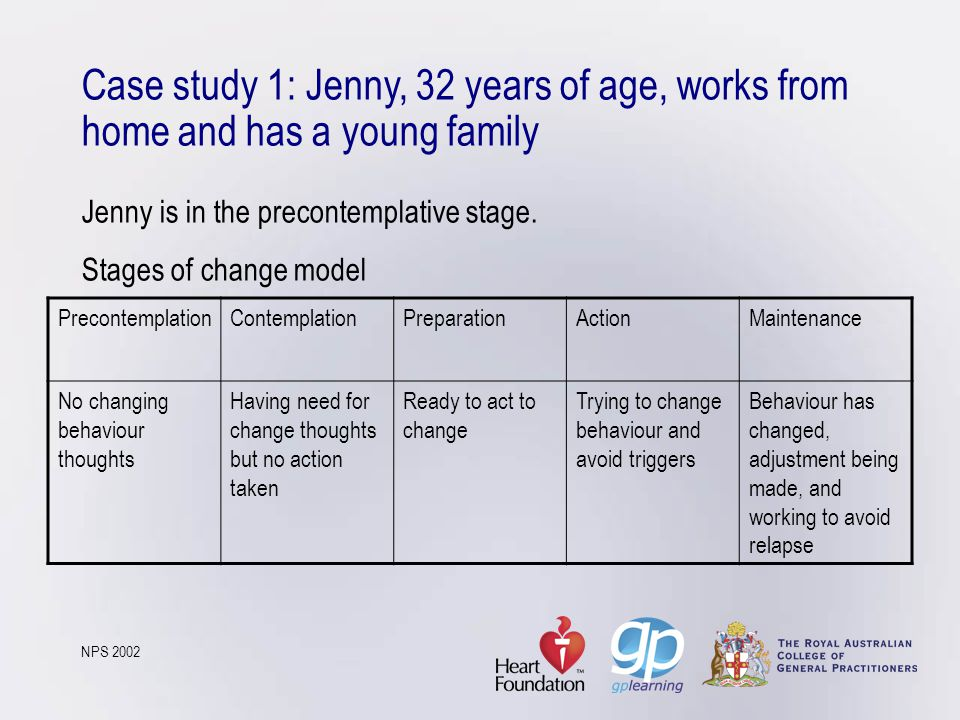 Case study 1: Jenny, 32 years of age, works from home and has a young family Jenny is in the precontemplative stage. Stages of change model NPS 2002