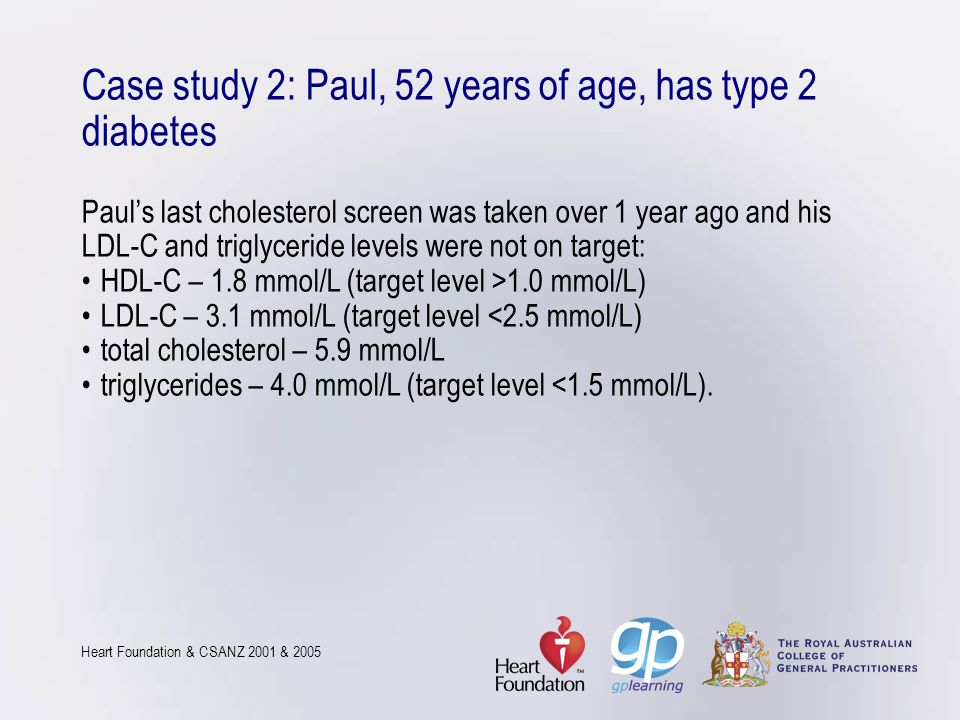 Case study 2: Paul, 52 years of age, has type 2 diabetes Paul's last cholesterol screen was taken over 1 year ago and his LDL-C and triglyceride levels were not on target: • HDL-C – 1.8 mmol/L (target level >1.0 mmol/L) • LDL-C – 3.1 mmol/L (target level <2.5 mmol/L) • total cholesterol – 5.9 mmol/L • triglycerides – 4.0 mmol/L (target level <1.5 mmol/L).