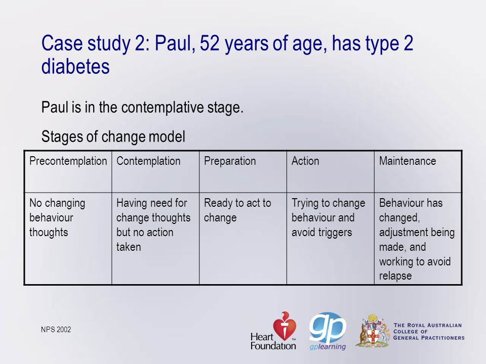 Case study 2: Paul, 52 years of age, has type 2 diabetes Paul is in the contemplative stage. Stages of change model NPS 2002