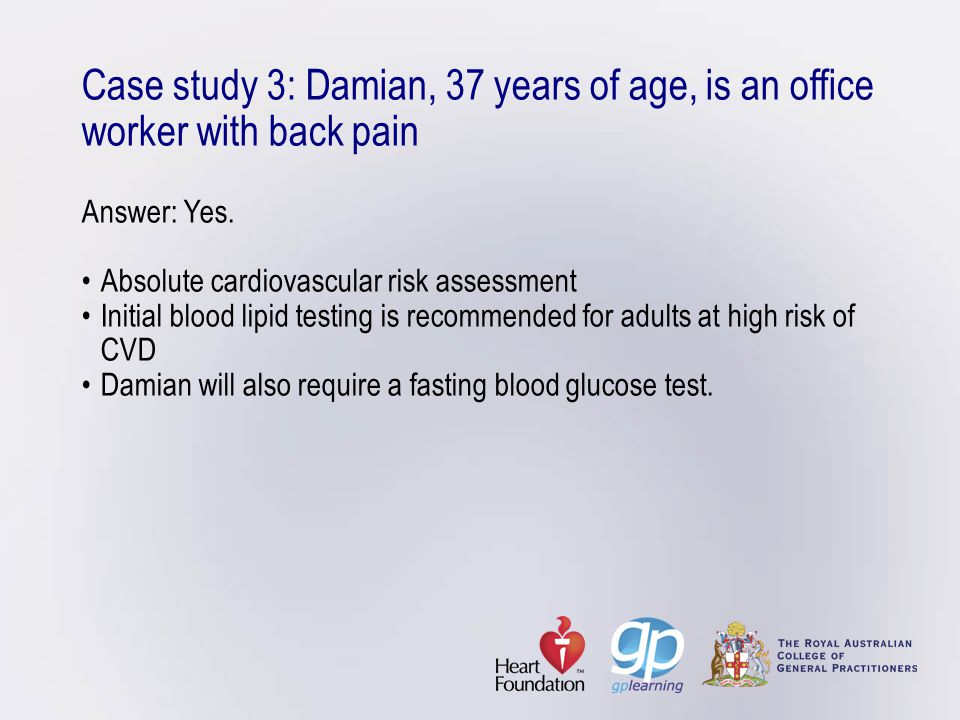 Case study 3: Damian, 37 years of age, is an office worker with back pain Answer: Yes.