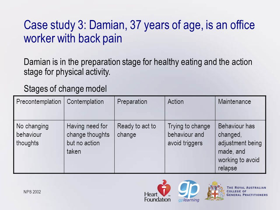 Case study 3: Damian, 37 years of age, is an office worker with back pain Damian is in the preparation stage for healthy eating and the action stage for physical activity. Stages of change model NPS 2002
