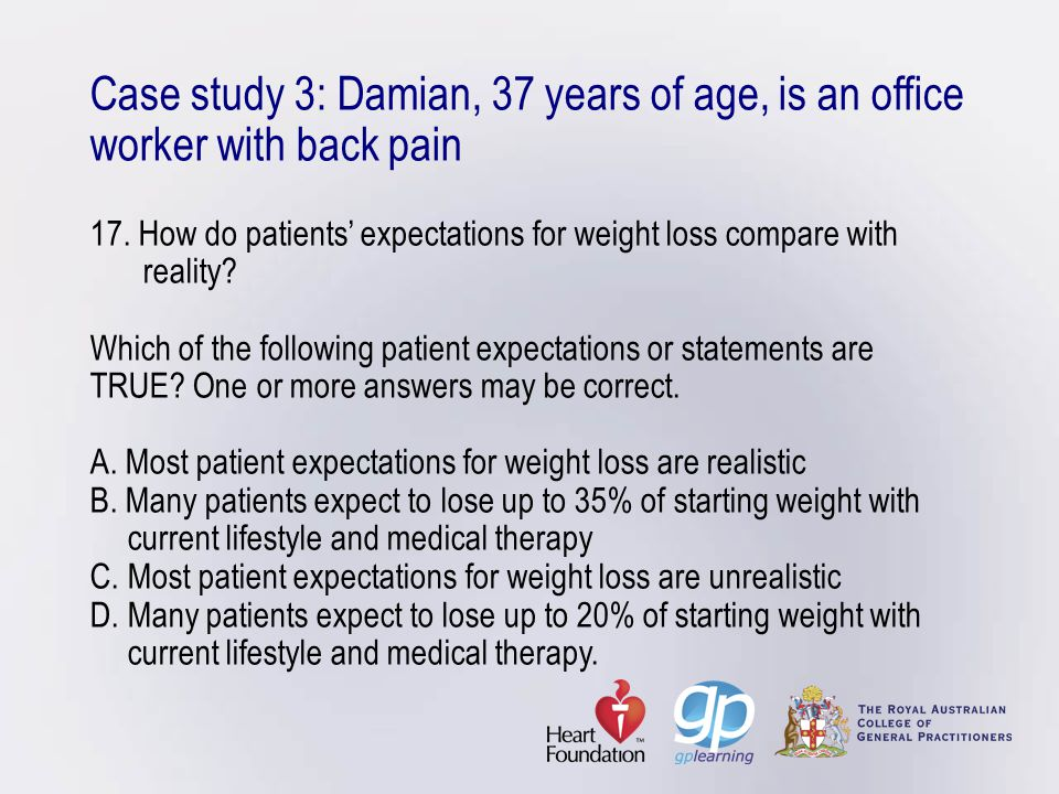 Case study 3: Damian, 37 years of age, is an office worker with back pain 17.