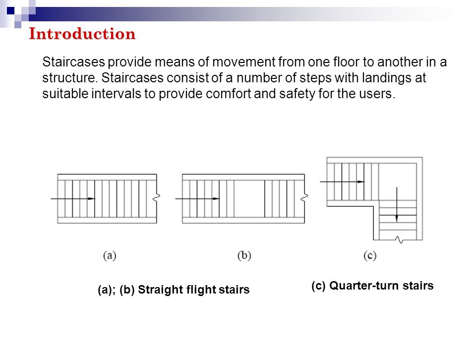 Introduction Staircases provide means of movement from one floor to another in a.