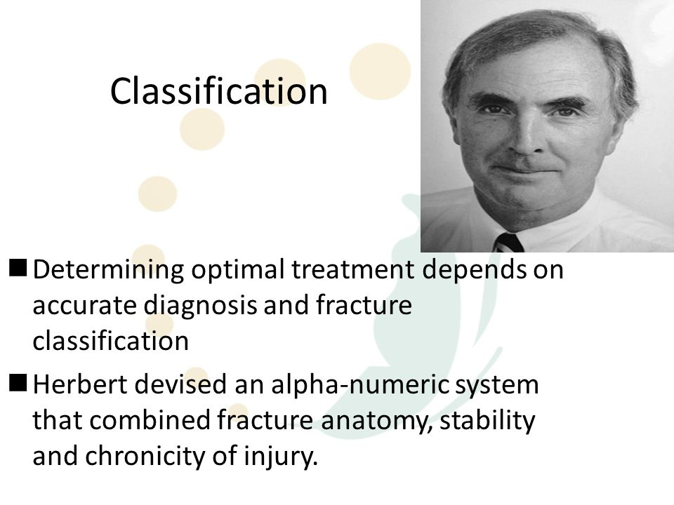 Classification Determining optimal treatment depends on accurate diagnosis and fracture classification.