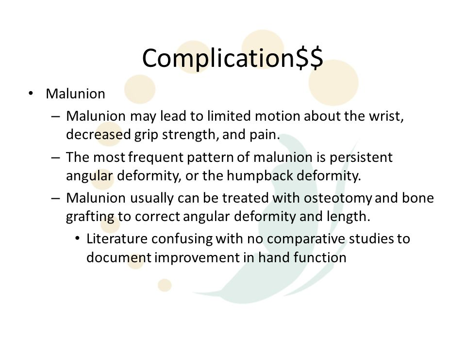 Complication$$ Malunion