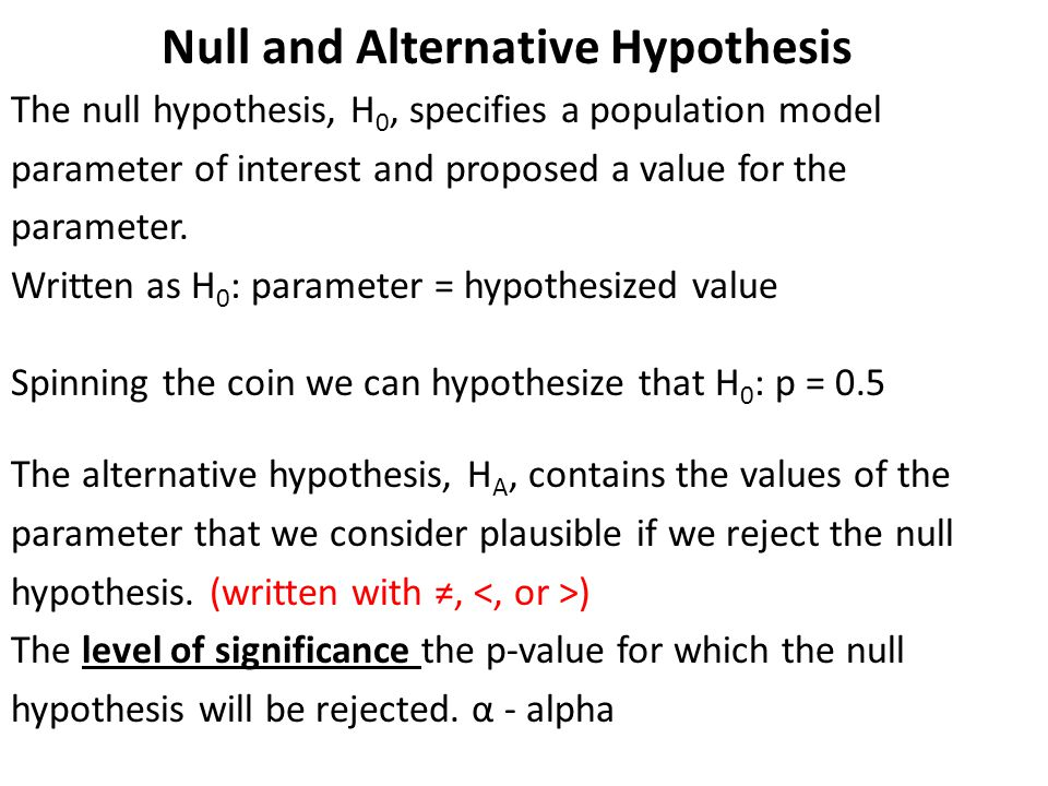 Null and Alternative Hypothesis