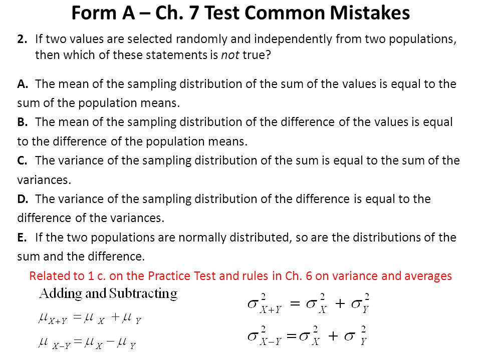 Form A – Ch. 7 Test Common Mistakes