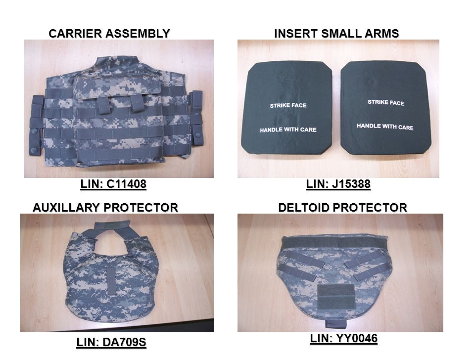 CARRIER ASSEMBLY INSERT SMALL ARMS. LIN: C11408. LIN: J15388. AUXILLARY PROTECTOR. DELTOID PROTECTOR.