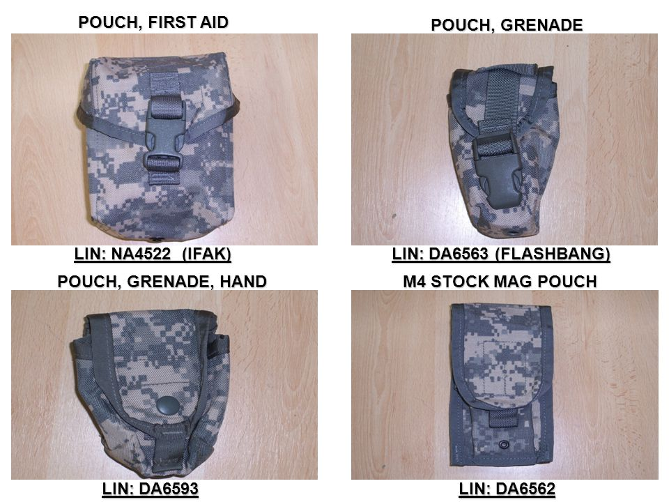 POUCH, FIRST AID POUCH, GRENADE. LIN: NA4522 (IFAK) LIN: DA6563 (FLASHBANG) POUCH, GRENADE, HAND.