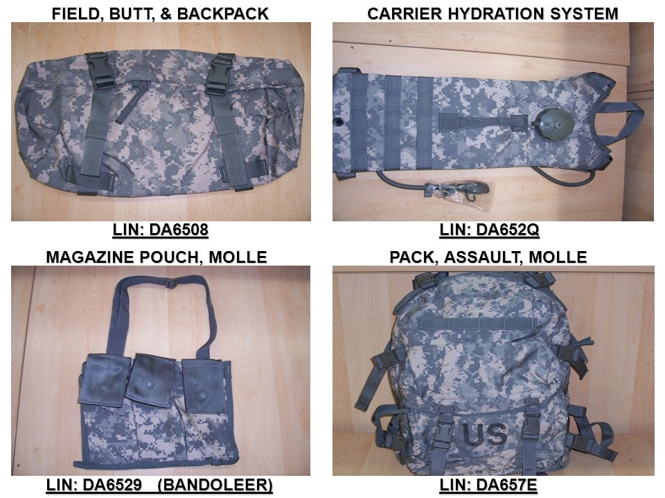 FIELD, BUTT, & BACKPACK CARRIER HYDRATION SYSTEM. LIN: DA6508. LIN: DA652Q. MAGAZINE POUCH, MOLLE.