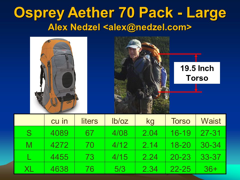 Osprey Aether 70 Pack - Large Alex Nedzel <alex@nedzel.com>