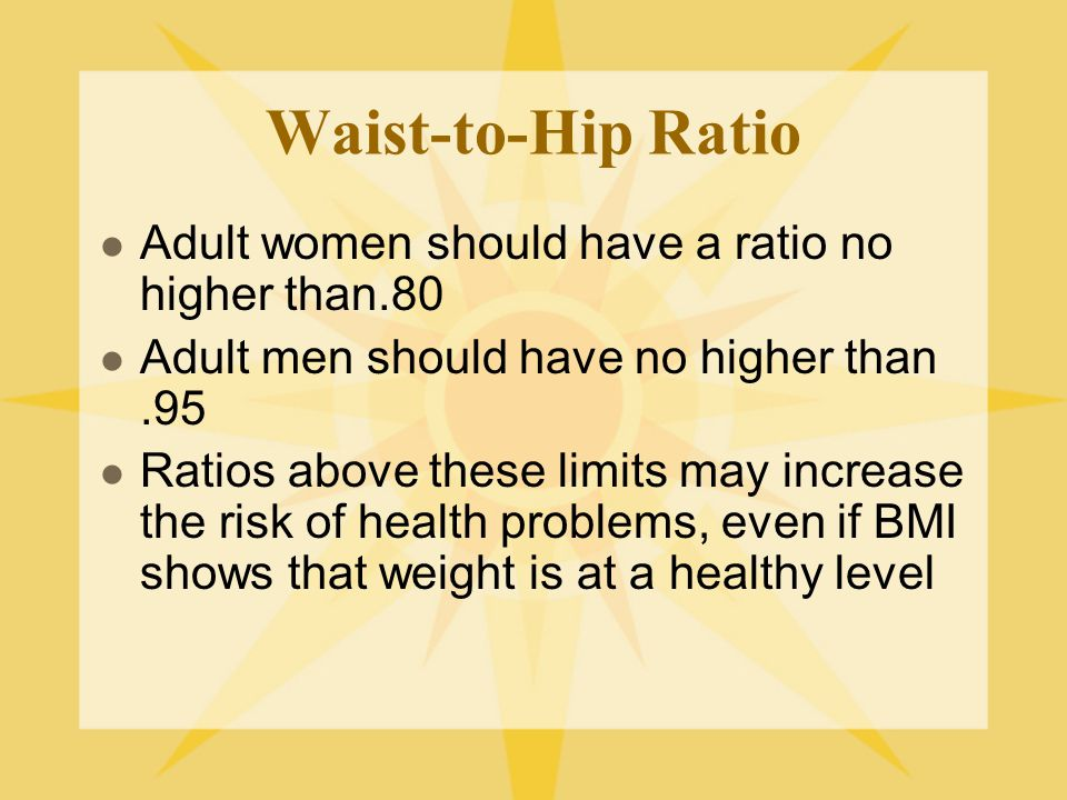 Waist-to-Hip Ratio Adult women should have a ratio no higher than.80