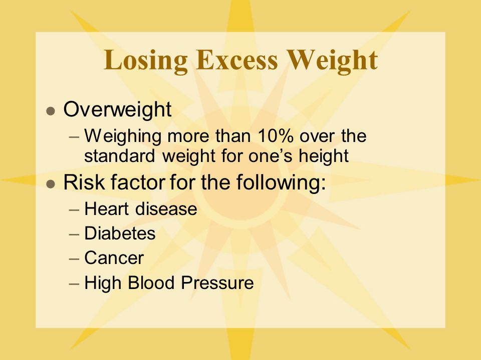 Losing Excess Weight Overweight Risk factor for the following: