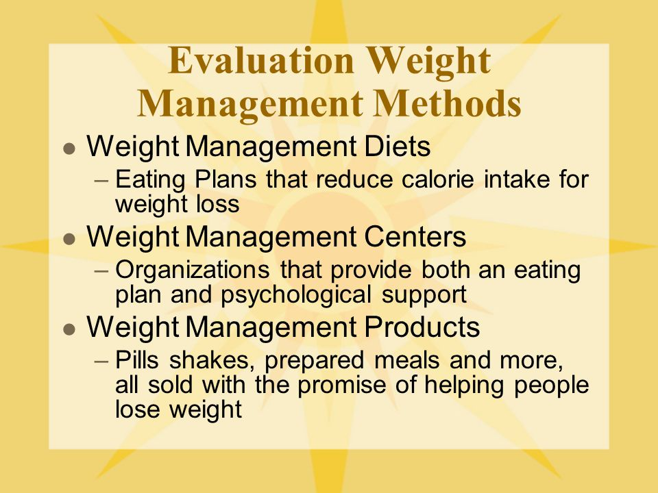 Evaluation Weight Management Methods