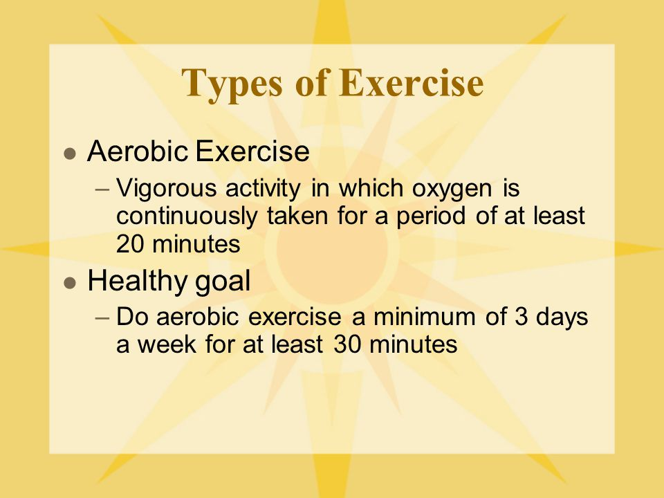 Types of Exercise Aerobic Exercise Healthy goal
