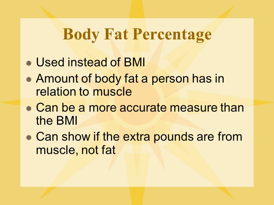 Body Fat Percentage Used instead of BMI