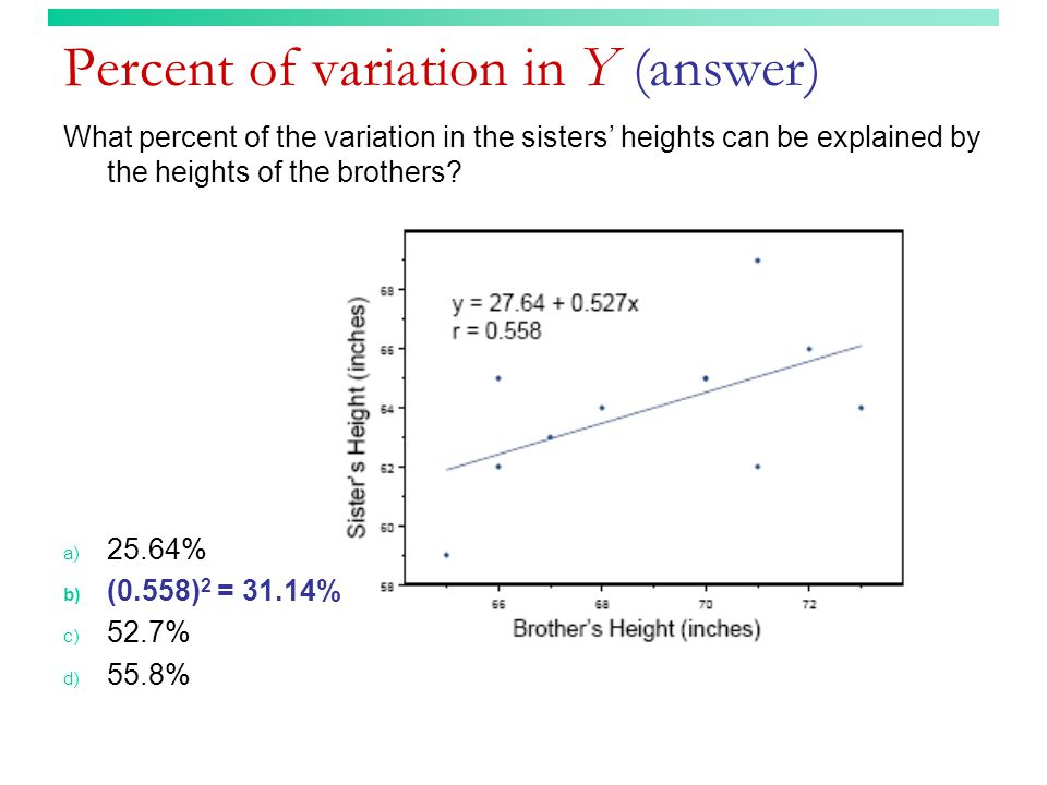 Percent of variation in Y (answer)
