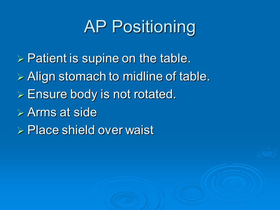AP Positioning Patient is supine on the table.