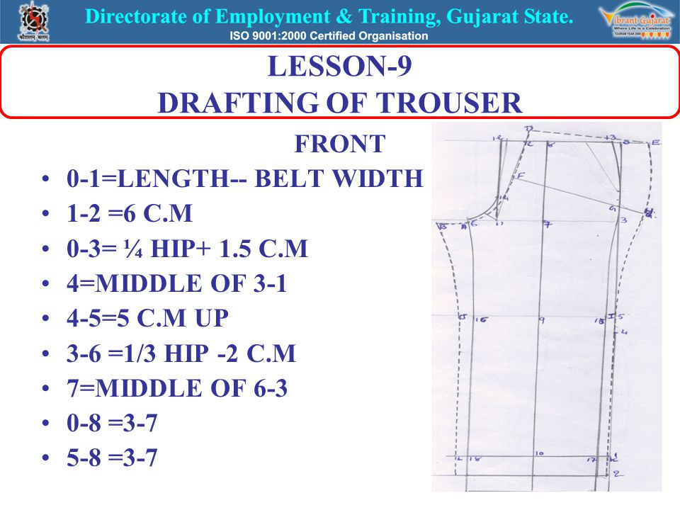 LESSON-9 DRAFTING OF TROUSER