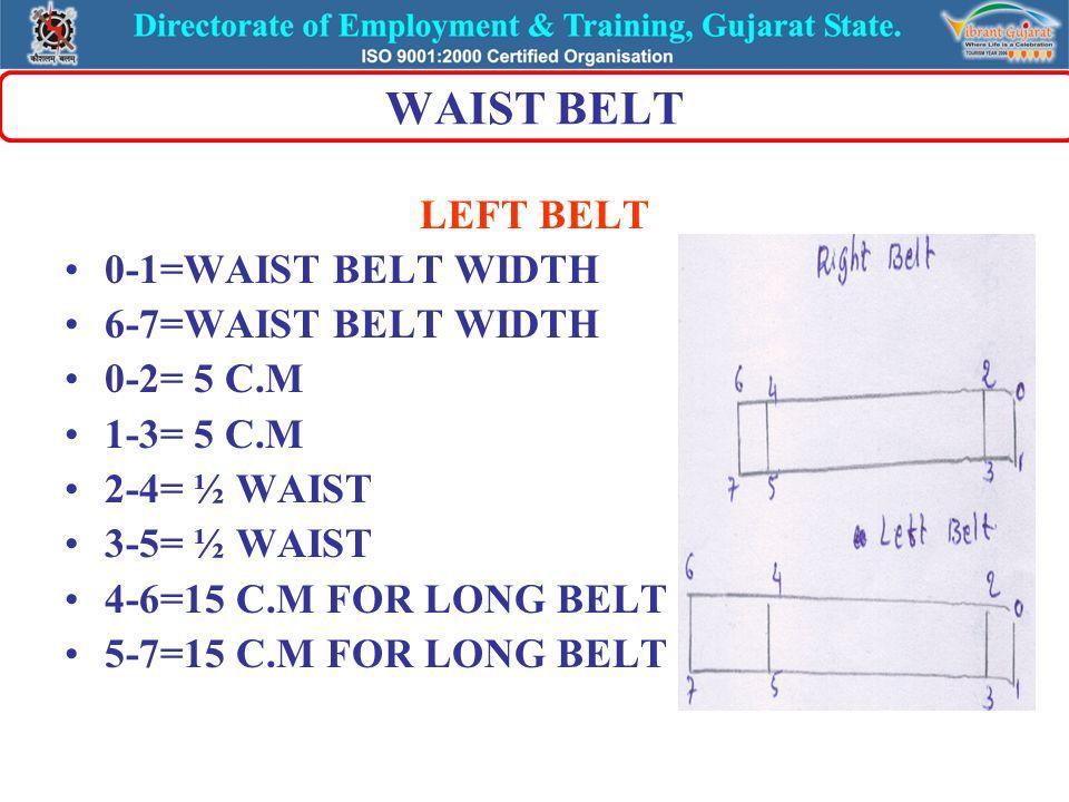 WAIST BELT LEFT BELT 0-1=WAIST BELT WIDTH 6-7=WAIST BELT WIDTH