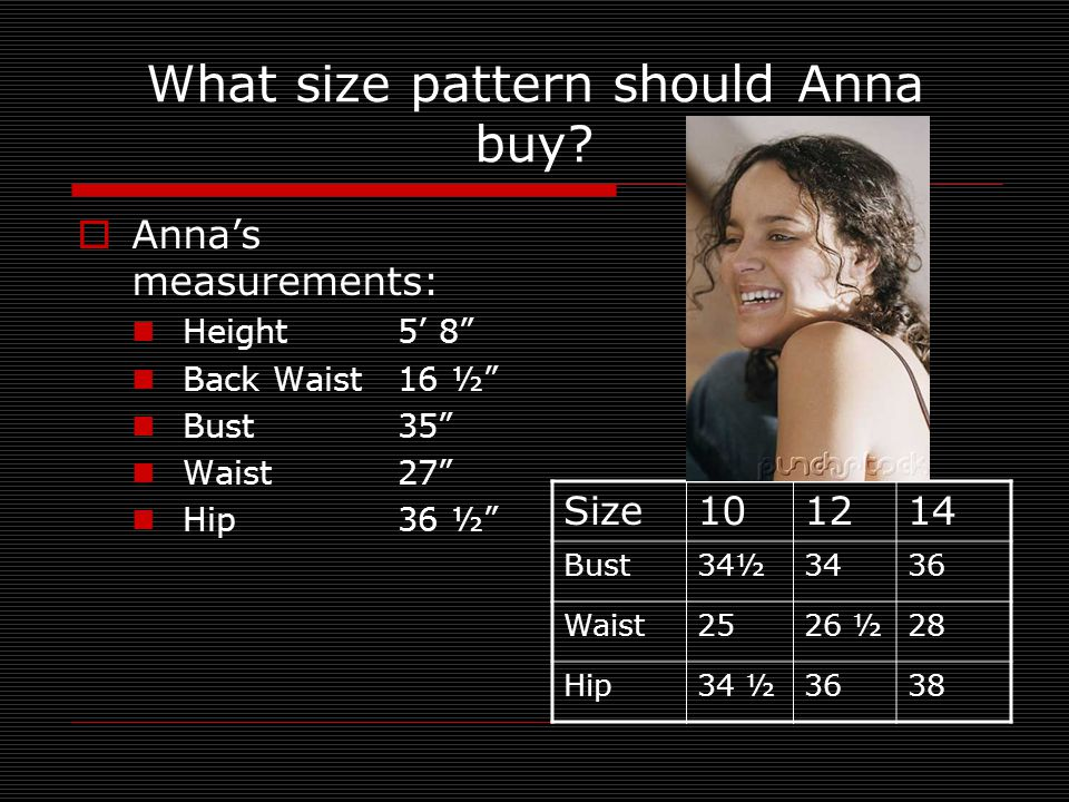 What size pattern should Anna buy