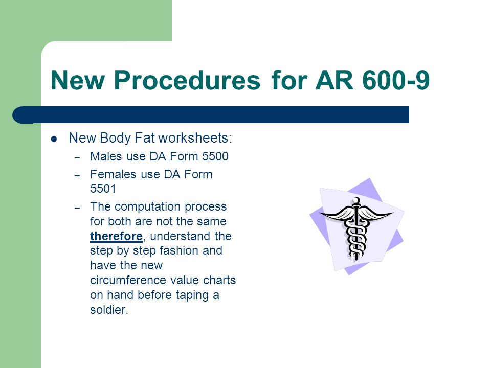 New Procedures for AR 600-9 New Body Fat worksheets: