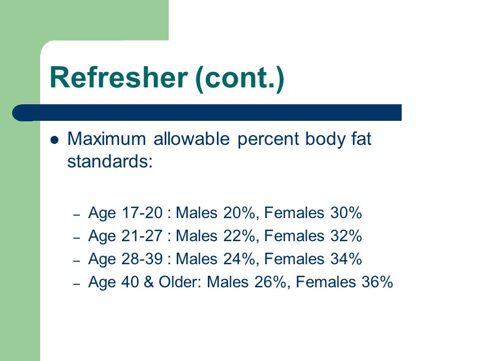 Refresher (cont.) Maximum allowable percent body fat standards: