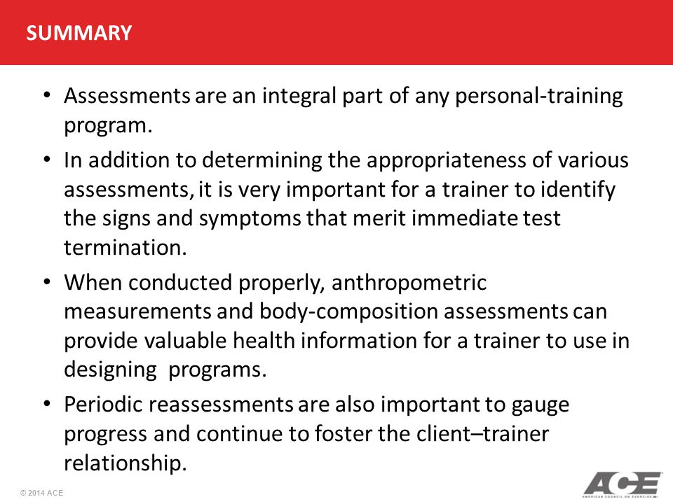 Assessments are an integral part of any personal-training program.
