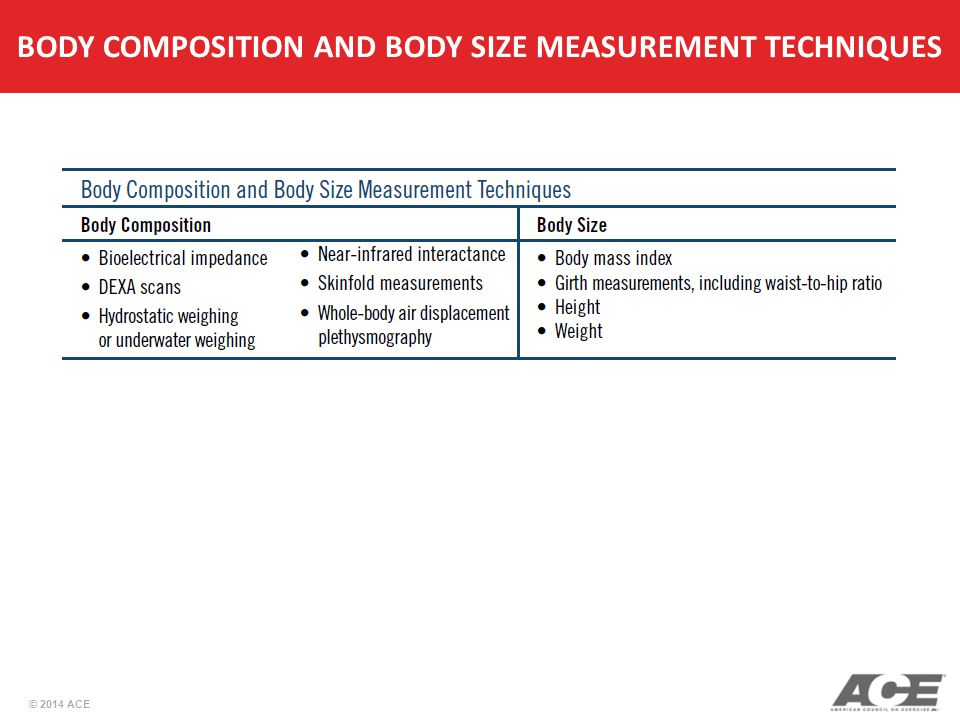 BODY COMPOSITION AND BODY SIZE MEASUREMENT TECHNIQUES