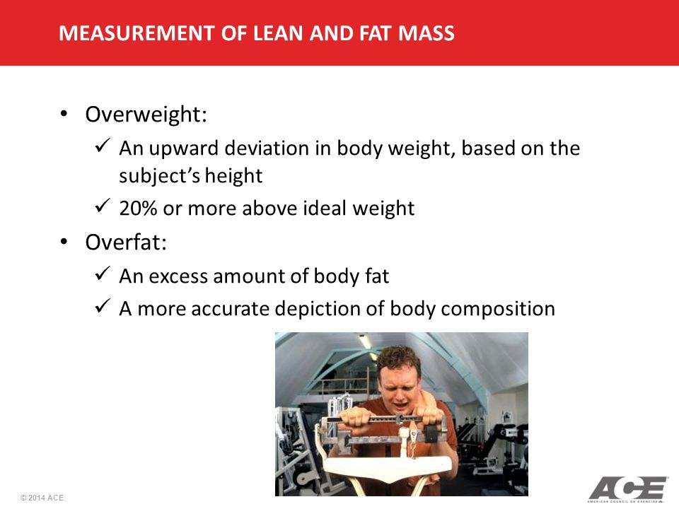 Overweight: Overfat: MEASUREMENT OF LEAN AND FAT MASS